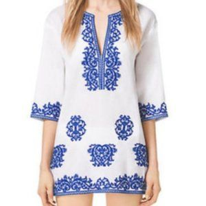 Michael Kors White & Navy Embroidered Tunic